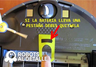 retiramos etiqueta de la batería