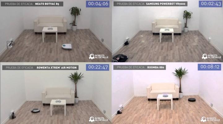 Robots aspiradores: comparativa prueba Eficacia